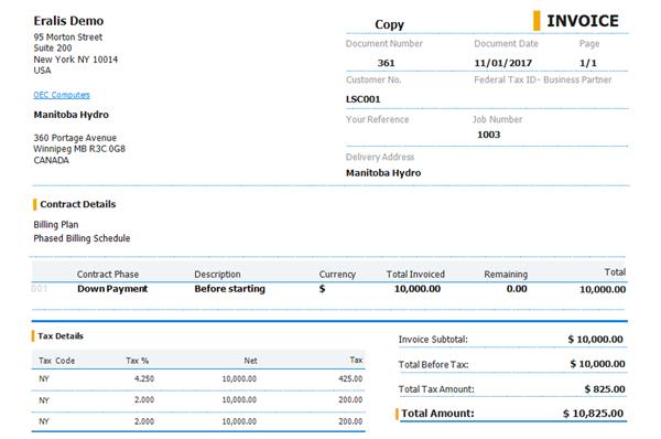 Job Contract-based Invoice Thumbnail
